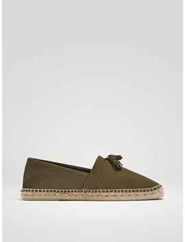Khaki Split Suede Espadrilles With Tassels by Massimo Dutti
