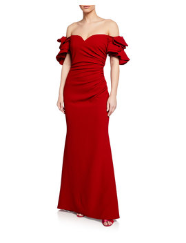 Off The Shoulder Bow Sleeve Mermaid Gown by Badgley Mischka Collection