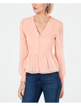 Solid Long Sleeve Smocked Top, Created For Macy's by Bar Iii