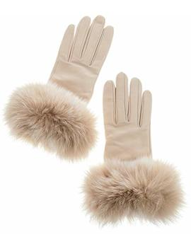 Women's Bellis Cashmere Lined Lambskin Leather Gloves With Fox Fur Trim by Overland Sheepskin+Co