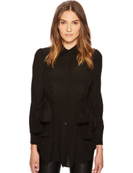 Side Bow Silk Button Up Top by Boutique Moschino
