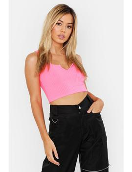 Petite Ribbed Notch Neck Crop Top by Boohoo