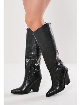 Black Calf Height Western Cowboy Boots by Missguided