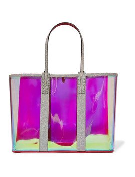 Cabata Spiked Pvc And Glittered Leather Tote by Christian Louboutin
