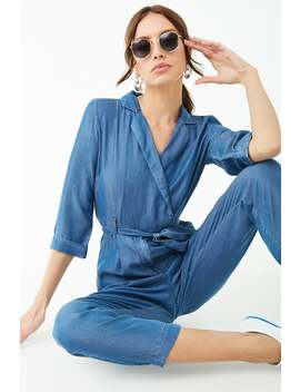 Chambray Tie Waist Jumpsuit by Forever 21