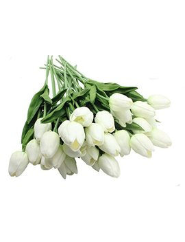 Aliersa 10 Heads Home Deocr Tulip Real Touch Tulips Artificial Flowers Bouquets (White) by Aliersa