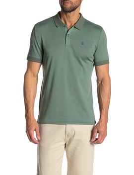 Solid Printed Trim Short Sleeve Polo by Original Penguin