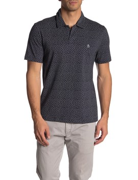 Short Sleeve Printed Open Collar Polo Shirt by Original Penguin
