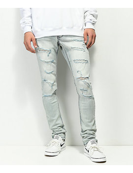 Ninth Hall Rogue Axel Shredded Light Wash Blue Jeans by Ninth Hall