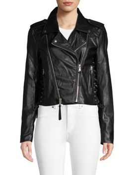 Lace Up Faux Leather Moto Jacket by Bagatelle