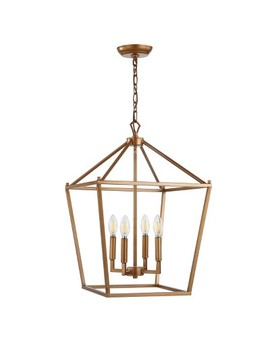 "16"" Pagoda 4 Bulb Lantern Metal Led Pendant Antique Gold   Jonathan Y by Jonathan Y"