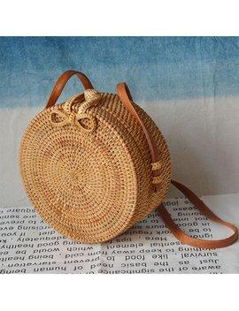 Handwoven Women's Fashion Round Rattan Shoulder Leather Straps Natural Messenger Bag Chic Handbag by Dailymall