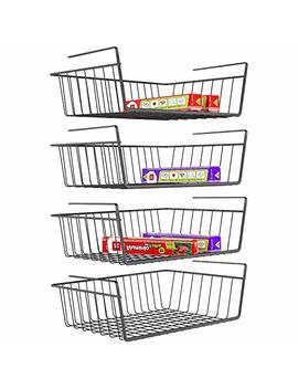 I Specle Under Shelf Basket, 4 Pack Wire Rack, Slides Under Shelves For Storage, Easy To Install, Black by I Specle