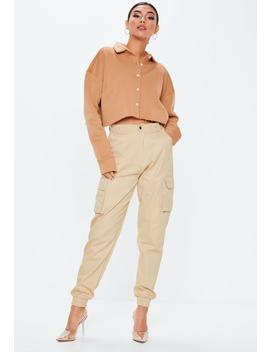 Camel Collar Button Front Cropped Sweatshirt by Missguided