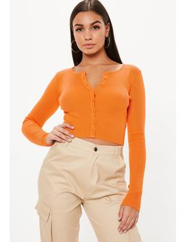 Orange Long Sleeve Knitted Top by Missguided