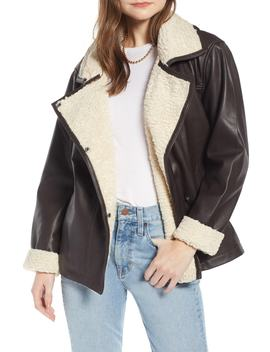 Aviator Leather Jacket (Nordstrom Exclusive) by Something Navy