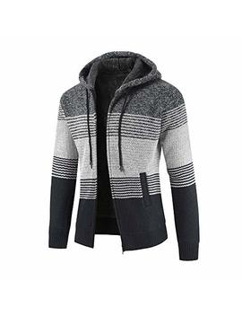 Men Colorblock Sweater Jacket Plus Velvet Padded Cardigan Striped Zipper Hoodie Outwear Fashion Clothing by Huamin