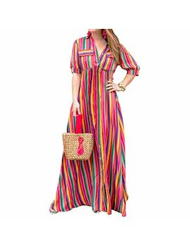 Yanekop Womens Rainbow Loose Button Down Stripes Half Sleeve Maxi Dress With Pockets by Yanekop