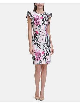 Printed Ruffle Sleeve Scuba Sheath Dress by Tommy Hilfiger
