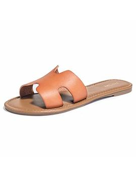 Fitory Womens Flat Sandals Slides Open Toe Slip On Shoes For Summer Size 6 11 by Fitory