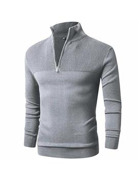 Ltifone Mens Slim Fit Zip Up Mock Neck Polo Sweater Casual Long Sleeve Sweater And Pullover Sweaters With Ribbing Edge by Ltifone
