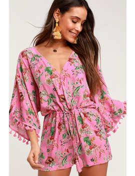 Roselyn Pink Floral Print Short Sleeve Romper by Lulus