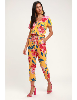 Successful Statice Mustard Yellow Floral Print Jumpsuit by Lulus