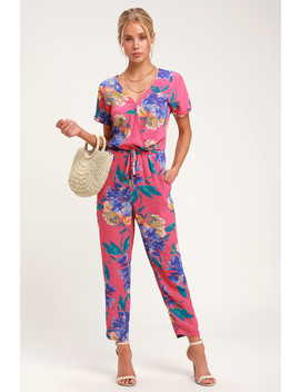 Successful Statice Hot Pink Floral Print Jumpsuit by Lulus