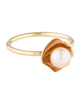 14 K Pearl & Enamel Oyster Stack Ring by Alison Lou