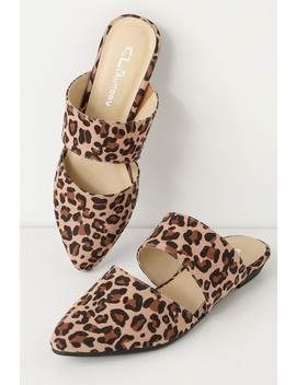 Enya Natural Leopard Suede Cutout Slides by Cl By Laundry
