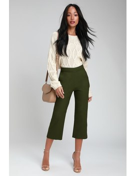 Bromley Olive Green Cropped Trouser Pants by Lulu's