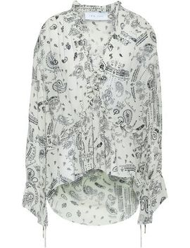 Bavone Ruffle Trimmed Printed Georgette Blouse by Iro