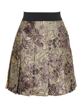 Pleated Brocade Mini Skirt by Dolce & Gabbana