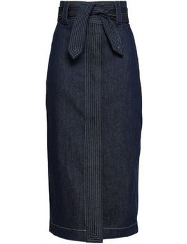 Emily Belted Denim Midi Skirt by Paper London