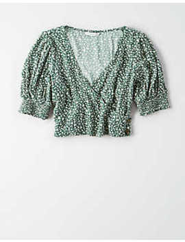 ae-short-sleeve-wrap-front-crop-top by american-eagle-outfitters