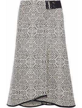 Flitter Fluted Leather Trimmed Tweed Skirt by Roland Mouret