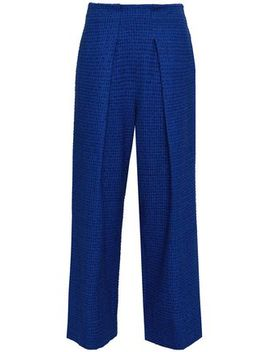 Pleated Embroidered Cotton Blend Twill Wide Leg Pants by Roland Mouret