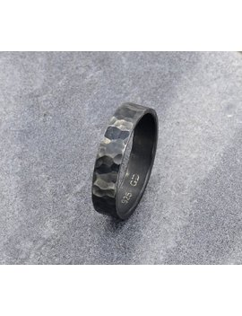 Rustic Wedding Band Men's Ring,  Oxidized Sterling Silver Hammered Ring For Men, Promise Ring, Personalized Gifts For Him by Etsy