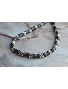 Beaded Mens Necklace Silver Black Necklace Mens Gifts    Walter by Etsy