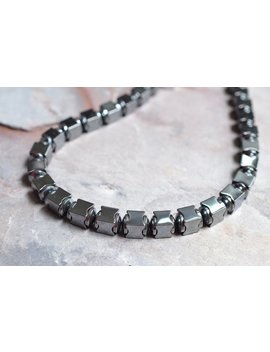 Hematite Beaded Mens Necklace Gifts For Men   Lincoln by Etsy