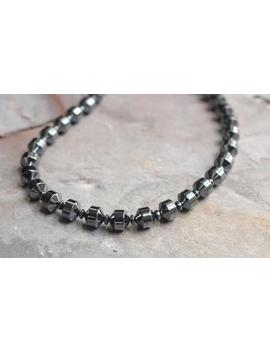 Mens Beaded Necklace Hematite Necklace Gifts For Men   Carter by Etsy