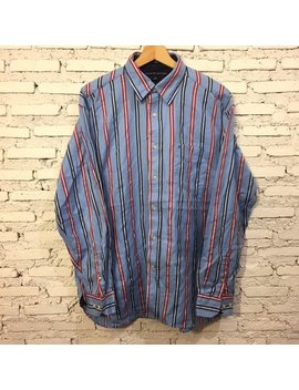Tommy Hilfiger Mens Long Sleeve Regular Fit Button Down Plaid Shirt Size Medium by Etsy
