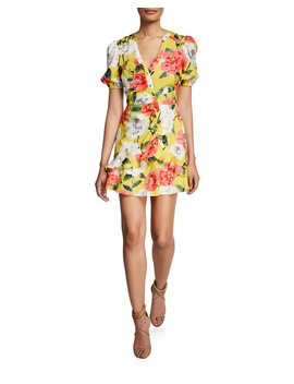 Minna Floral Puff Sleeve Mini Cotton Dress by Parker