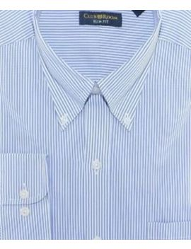 Club Room Blue White Striped Button Down Slim Fit Cotton Dress Shirt 16.5 36/37 by Club Room