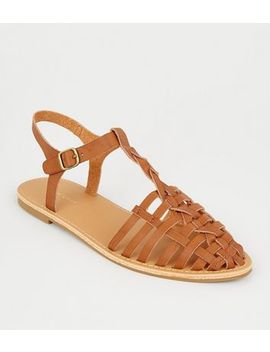 Tan Leather Look T Bar Caged Sandals by New Look
