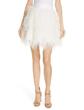 Cina Ostrich Feather Skirt by Alice + Olivia