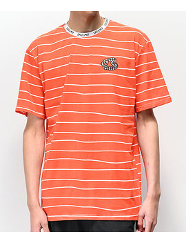 Salem7 Brace Fang Orange & White Striped T Shirt by *Salem7*