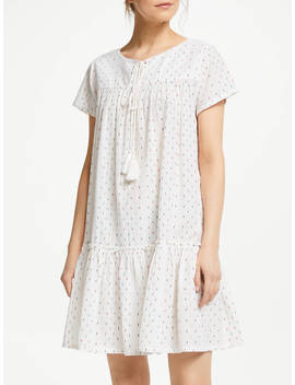 Star Mela Ora Cotton Smock Dress, Ecru/Multi by Star Mela
