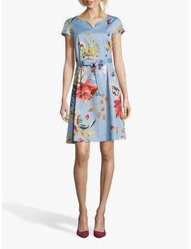 Betty Barclay Floral Shift Dress, Blue/Red by Betty Barclay