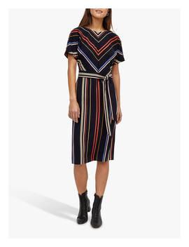 Warehouse Georgia Tie Waist Stripe Midi Dress, Multi by Warehouse